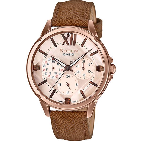 CASIO卡西歐SHEEN優雅棕色腕錶  SHE-3056PGL-7A