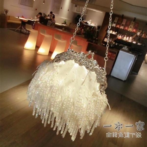 晚宴包 名媛復古流蘇綢緞手工串珠珠繡包新娘包手提包女包旗袍包宴會包包