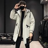 羽絨外套-白鴨絨連帽寬鬆休閒長版男夾克2色73zd25【巴黎精品】
