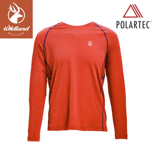【Wildland 荒野 男 POLARTEC功能圓領長袖衣《橘紅》】P1610/T桖/運動衣/吸濕排汗/休閒衫