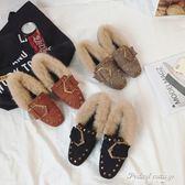 新款兔毛方頭鉚釘鞋子毛毛鞋女百搭韓版豆豆鞋潮·蒂小屋