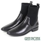 (黑38)女款胎牛皮短靴 國際精品針織襪套義大利胎牛皮尖頭短靴【GREEN PHOENIX】U28-2E601