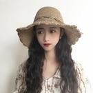 遮阳帽 沙灘草帽女遮陽夏天海邊太陽草編度假防曬百搭可折疊出游遮臉帽子