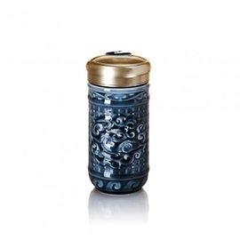 【收藏天地】乾唐軒活瓷系列*勢在必得隨身杯 礦藍釉款∕按摩 舒緩 碧璽 電氣石 養生 健康