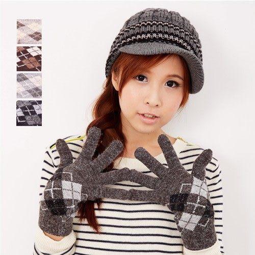 【MIT台灣製】雙層內裡羽毛紗針織手套保暖手套─菱格款