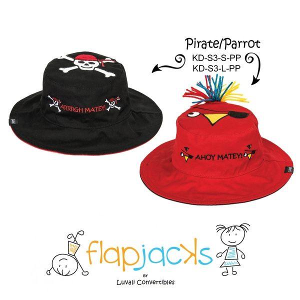 加拿大 flapjacks 兒童翻轉防曬帽-海盜&鸚鵡(黑/紅)