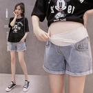 漂亮小媽咪 韓系 托腹短褲 【P0288】牛仔 低腰 托腹 孕婦短褲 孕婦 牛仔短褲