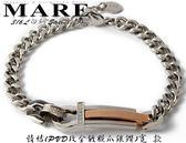 【MARE-316L白鋼】系列: 情結 (PVD玫金鍍膜爪鑲鑽 ) 寬 手鐶 款