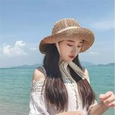 現貨-chic風蕾絲綁帶盆帽草帽子女夏可折疊漁夫帽沙灘帽海邊遮陽草帽