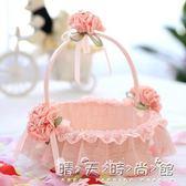 粉色玫瑰佳人蕾絲婚禮伴娘提籃 婚慶花瓣籃 兒童舞蹈藤編花籃WD 晴天時尚館