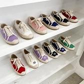 帆布鞋 女鞋新款復古小香風帆布材質系帶休閒漁夫鞋樂福鞋低筒鞋-Ballet朵朵
