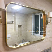 智慧浴鏡防霧鏡北歐時尚方形壁掛鏡餐廳客廳裝飾鏡黃銅色衛生間浴室玄關鏡 M431 JD