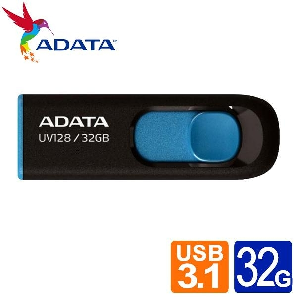 威剛 UV128 32G USB3.2行動碟 (藍/黃)
