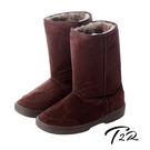 【韓國T2R】秋冬韓系女孩必備經典款內裡毛茸茸雪靴 內增高↑7cm 咖啡 5500-0618(原裝進口)