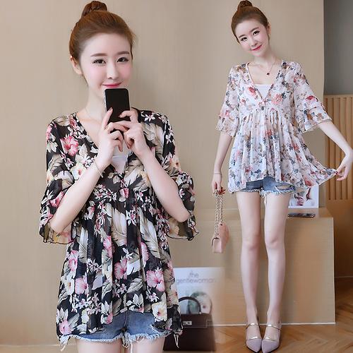 夏季新款寬鬆短袖超仙碎花雪紡衫裙擺洋氣遮肚子上衣女 - 風尚3C