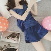 夏季性感露背絲綢冰絲吊帶睡衣女薄款蕾絲花邊短褲兩件套裝家居服【端午節免運限時八折】