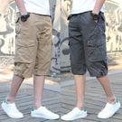 夏季薄款多口袋工裝七分褲男7分褲短褲男加大碼寬鬆休閒運動馬褲