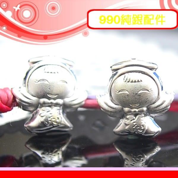 銀鏡DIY S990純銀材料配件/立體亮面招福氣翅膀可愛小天使墜N(穿式)~適合手作串珠/蠶絲蠟線/幸運繩