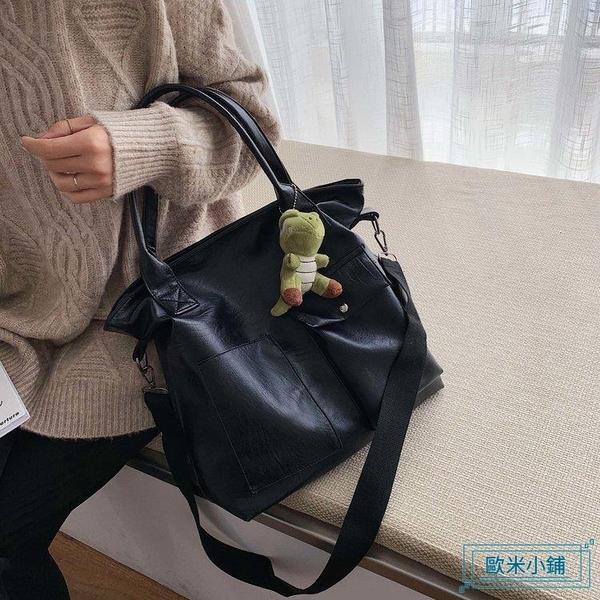 手提包 2019冬季新款網紅女包PU革包包單肩包休閒包拉掛件斜挎包手提包