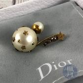 BRAND楓月 Christian Dior 迪奧 珍珠星星耳環 五金做舊 LOGO 珍珠 配飾 配件 飾品 飾物 小物