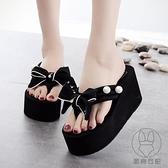 拖鞋女夏時尚外穿夾腳可愛厚底高跟個性韓版沙灘拖鞋人字拖【貼身日記】