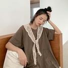 日系仙氣田園學生蕾絲披肩女小坎肩配裙子縷空圍巾韓版打結假領子
