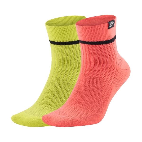 Nike 短襪 SNKR Sox 黃 橘 男女款 小標 螢光色 一組兩雙 運動襪【ACS】 SK0262-903