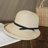 遮陽草帽女復古可折疊盆帽文藝漁夫帽子簡約太陽帽休閒涼帽【聚物優品】