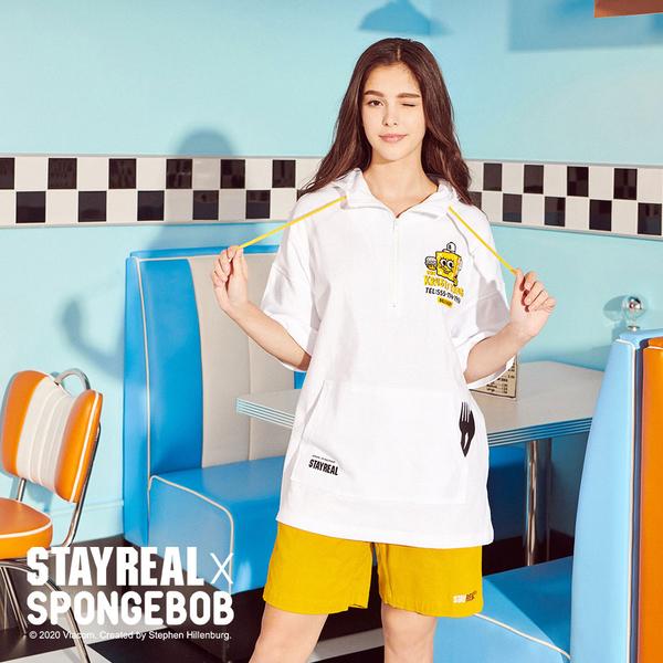 STAYREAL x SpongeBob 美味蟹堡外送連帽T
