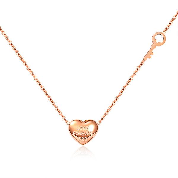 316L鈦鋼項鍊 玫瑰金色 立體愛心造型 女生項鍊  甜美項鍊 送禮物推薦 單條價【AKS1273】Z.MO鈦鋼屋