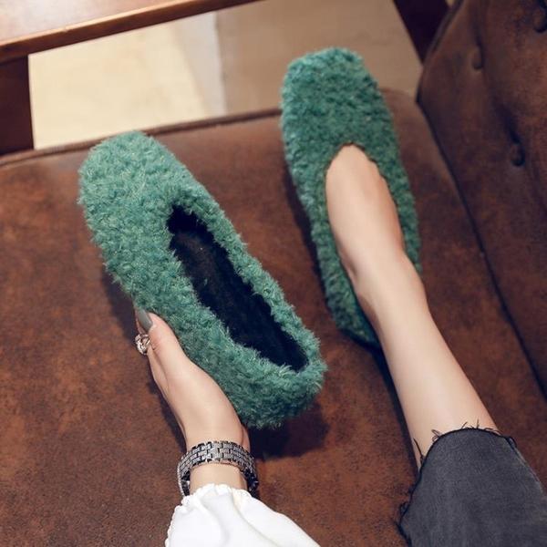 毛毛鞋 毛毛鞋女秋冬外穿時尚冬季新款平底網紅羊羔毛加絨豆豆單鞋子-Ballet朵朵