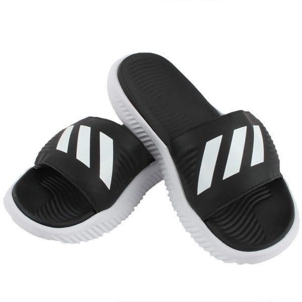 adidas Alpha bounce Slide 男 黑 白 氣墊運動拖鞋 籃球員 三條線 嘻哈歌手 休閒 防水 防滑 拖鞋 BA8775