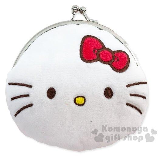 〔小禮堂〕Hello Kitty 絨毛口金零錢包《紅白.大臉》收納包.耳機包 4901610-61117