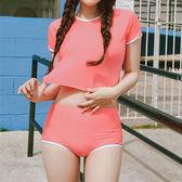 泳裝 比基尼 泳衣 素色 露腰 T恤 罩衫 兩件套 短袖泳裝【SF18019】 BOBI  12/07