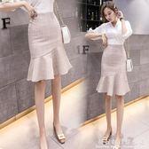 全館83折 魚尾裙半身裙流行裙子春高腰白色百搭黑色花瓣荷葉邊夏中長款