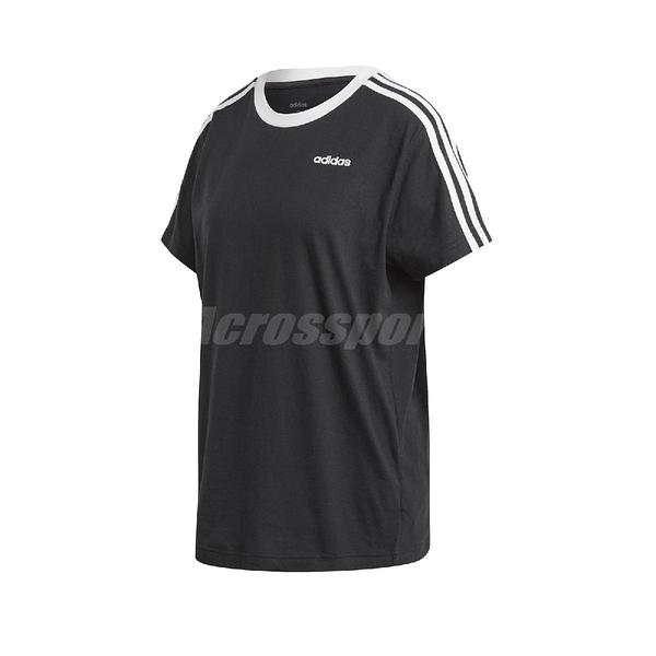 adidas 短袖T恤 3-Stripes Essentials Boyfriend Tee 黑 白 女款 長版 運動休閒 【ACS】 FN5776