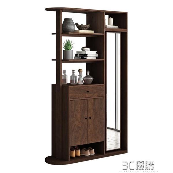 玄關櫃 進門玄關櫃隔斷櫃客廳現代簡約可旋轉多功能鞋櫃一體帶鏡子門廳櫃 3C優購HM