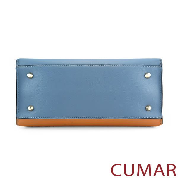 【CUMAR女包】撞色拼接流蘇吊飾托特包-藍駝拼接
