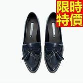 女牛津鞋-低跟名媛款粗曠流蘇尖頭女皮鞋65y47【巴黎精品】