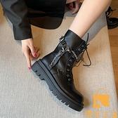 馬丁靴女英倫風百搭系帶機車短靴子【慢客生活】