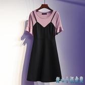 T恤大碼洋裝裙 胖mm女夏裝遮肚子減齡顯瘦洋氣假兩件連身裙修身款 DR34967【甜心小妮童裝】