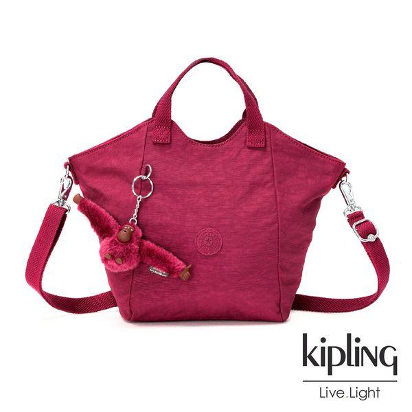 Kipling 莓紫素面手提側背包-大