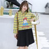 中大尺碼~卡通印花格子長袖上衣(XL~4XL)