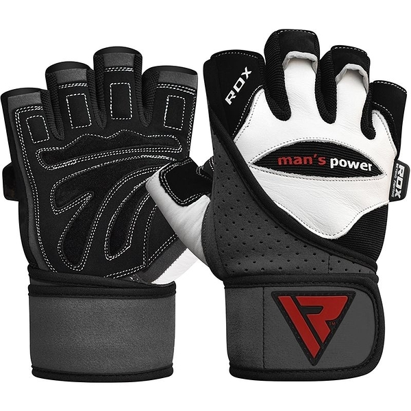 【線上體育】RDX GYM GLOVE LEATHER WHITE/BLACK