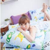 【新生活eazy系列-動物深林-藍】加大6X6.2-/床包/枕套組、台灣製LUST寢具
