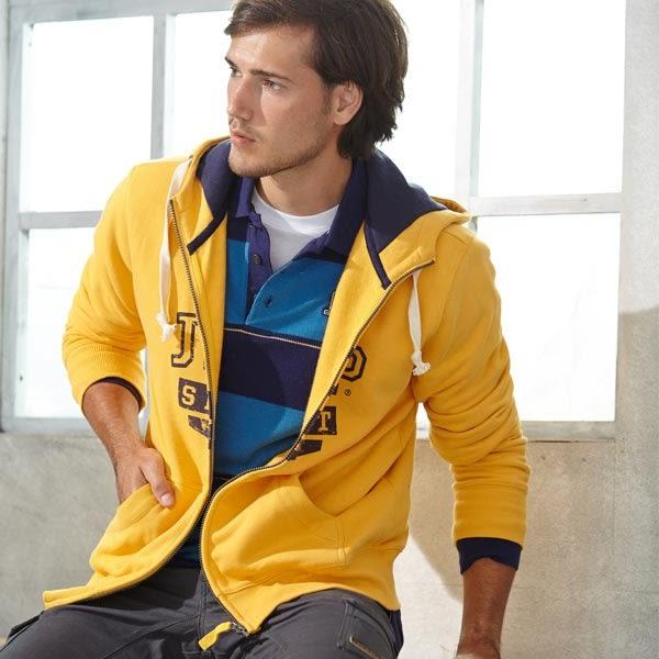 【JEEP】禦寒刷毛帽T外套-黃色