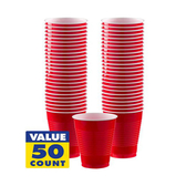 16oz塑膠免洗杯50入-蘋果紅