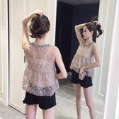 夏裝吊帶背心女外穿百搭寬松透視無袖蕾絲打底衫上衣兩件套裝 LI2238『時尚玩家』