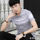 襯衫 夏季新款短袖襯衫男韓版青少年201...
