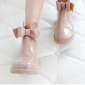 雨靴 時尚款外穿套鞋雨靴防滑短筒韓國可愛防水鞋成人蝴蝶結膠鞋 小天後